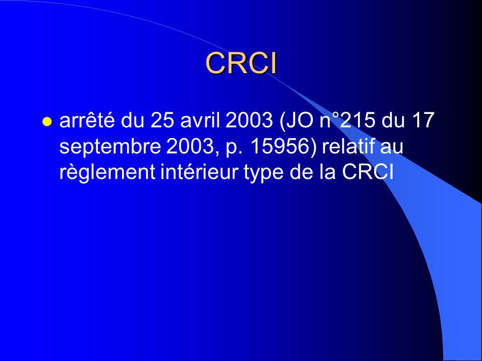CRCI arrêté du 25 avril 2003 (JO n°215 du 17 septembre 2003, p.