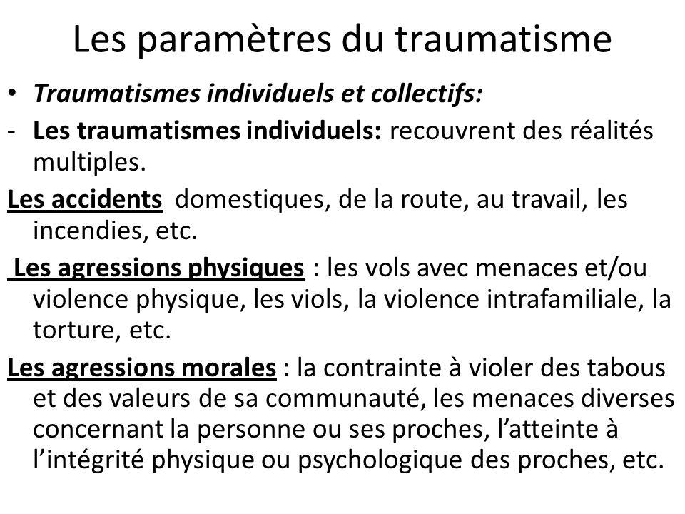 Les paramètres du traumatisme