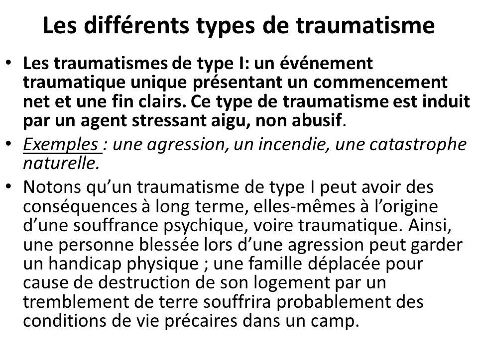 Les différents types de traumatisme