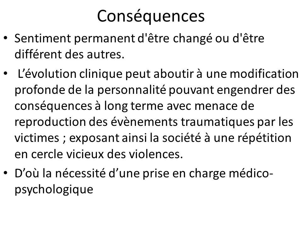 Conséquences Sentiment permanent d être changé ou d être différent des autres.