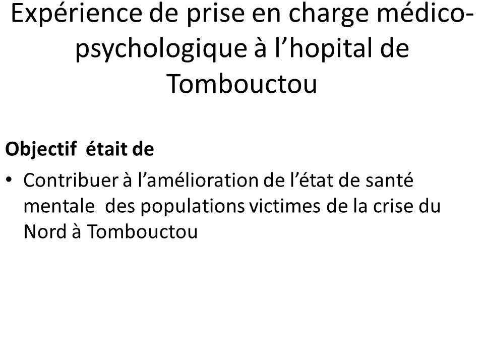 Expérience de prise en charge médico-psychologique à l'hopital de Tombouctou