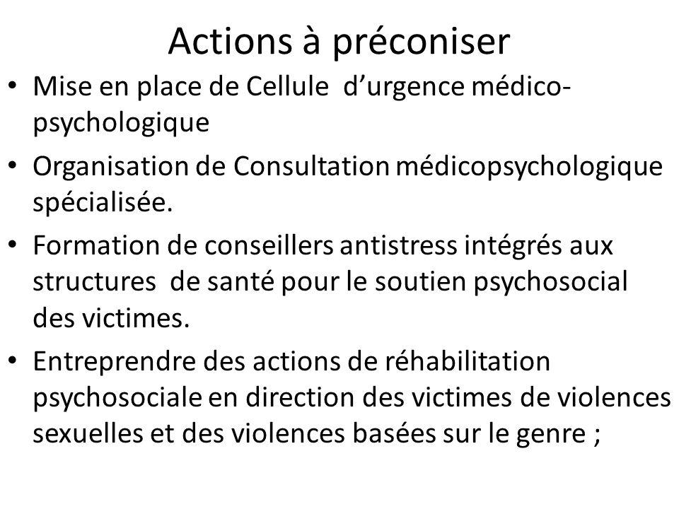 Actions à préconiserMise en place de Cellule d'urgence médico-psychologique. Organisation de Consultation médicopsychologique spécialisée.