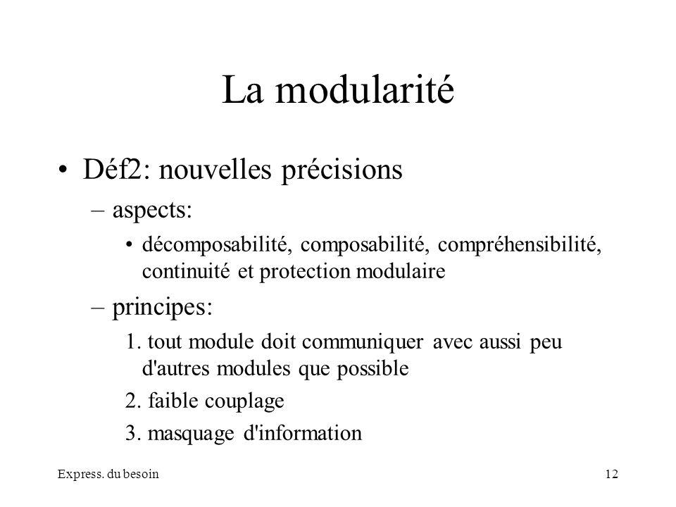 La modularité Déf2: nouvelles précisions aspects: principes: