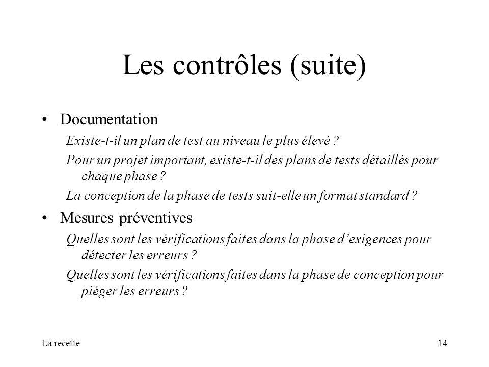 Les contrôles (suite) Documentation Mesures préventives