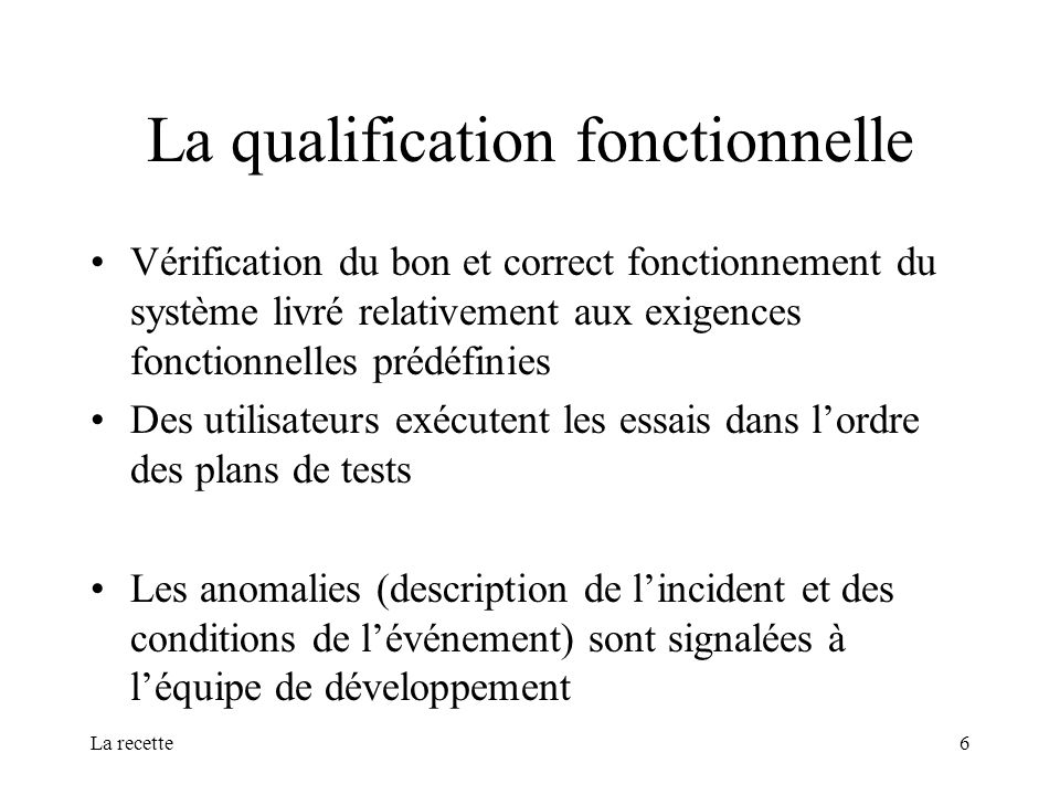 La qualification fonctionnelle