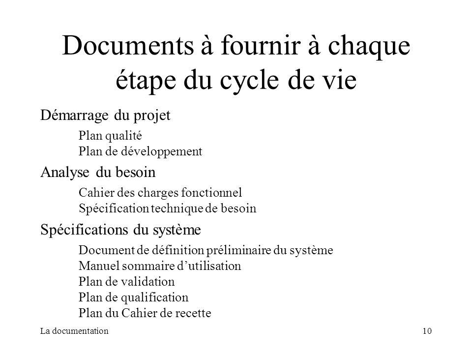 Documents à fournir à chaque étape du cycle de vie