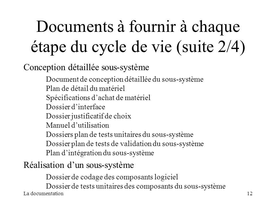 Documents à fournir à chaque étape du cycle de vie (suite 2/4)