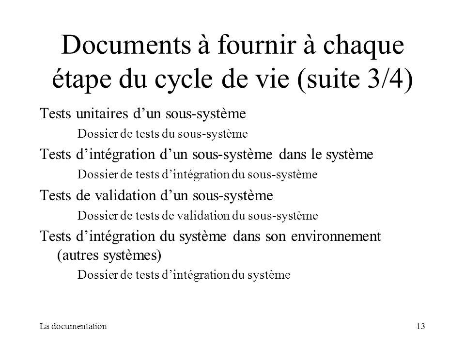 Documents à fournir à chaque étape du cycle de vie (suite 3/4)
