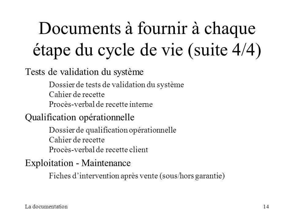 Documents à fournir à chaque étape du cycle de vie (suite 4/4)