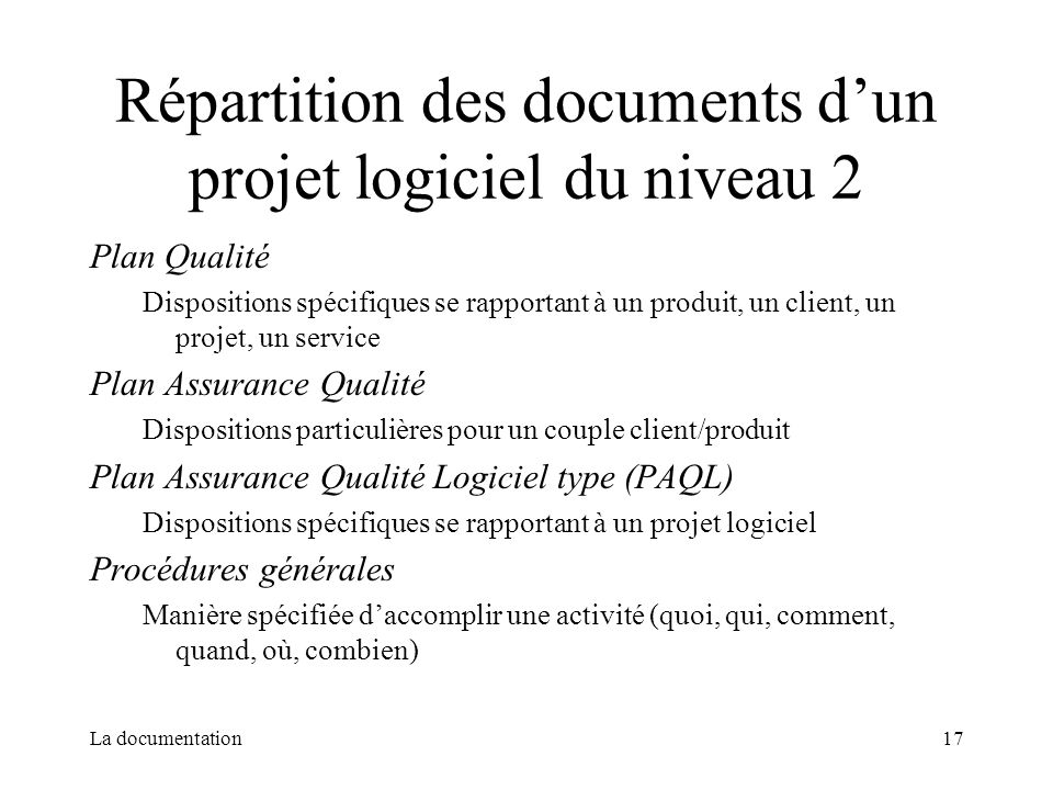 Répartition des documents d'un projet logiciel du niveau 2