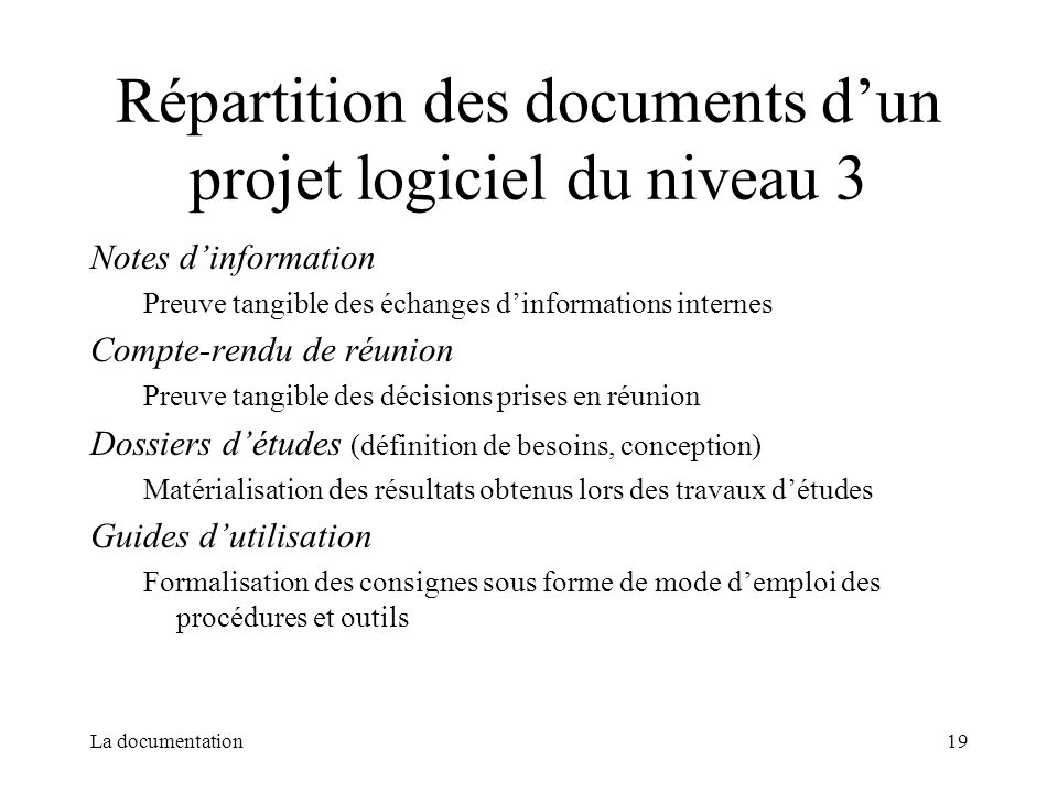 Répartition des documents d'un projet logiciel du niveau 3