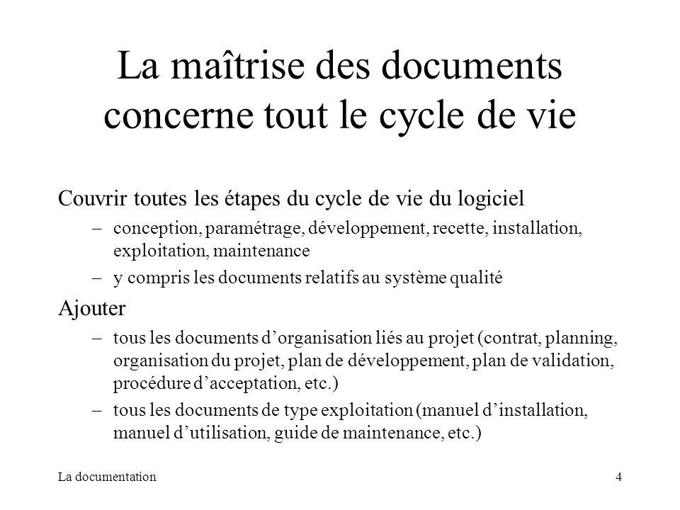 La maîtrise des documents concerne tout le cycle de vie