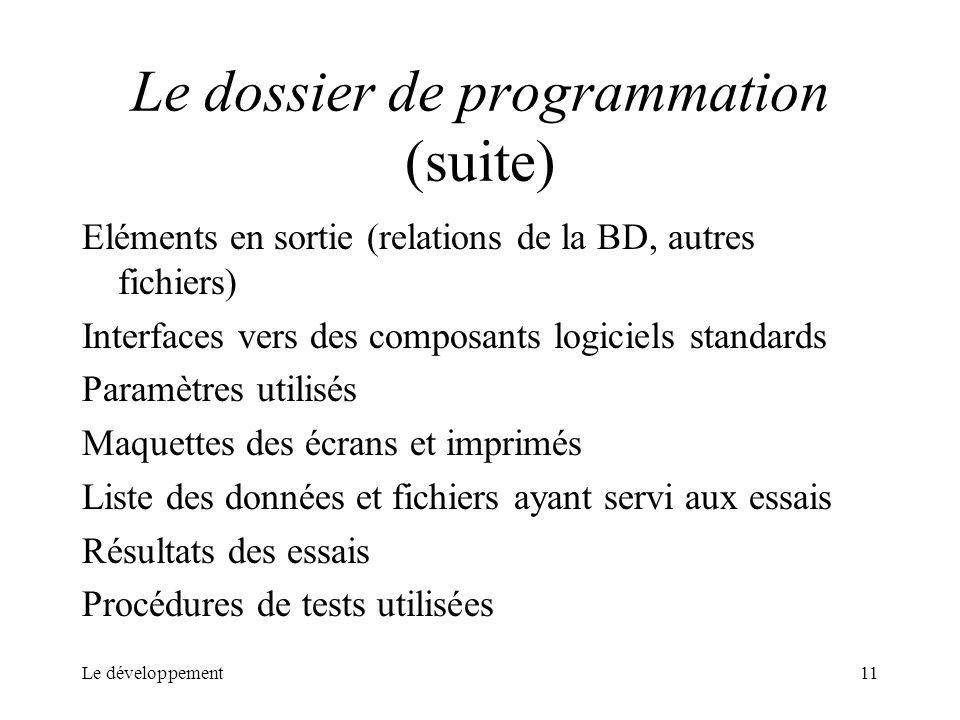 Le dossier de programmation (suite)