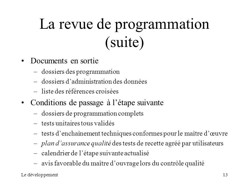 La revue de programmation (suite)