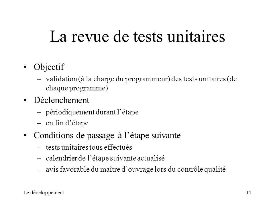 La revue de tests unitaires