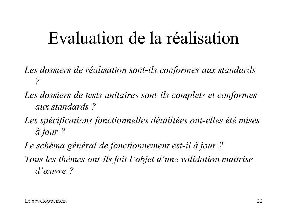 Evaluation de la réalisation