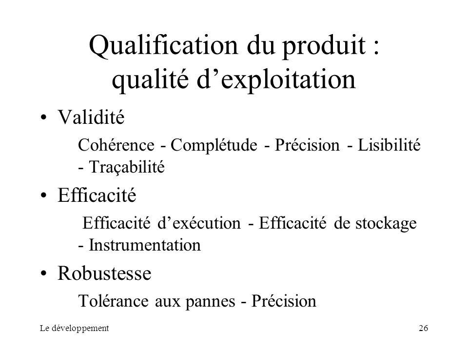 Qualification du produit : qualité d'exploitation