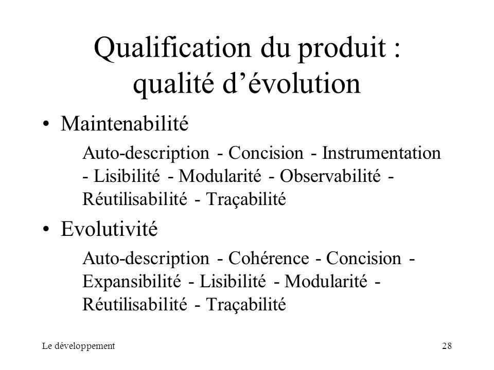 Qualification du produit : qualité d'évolution