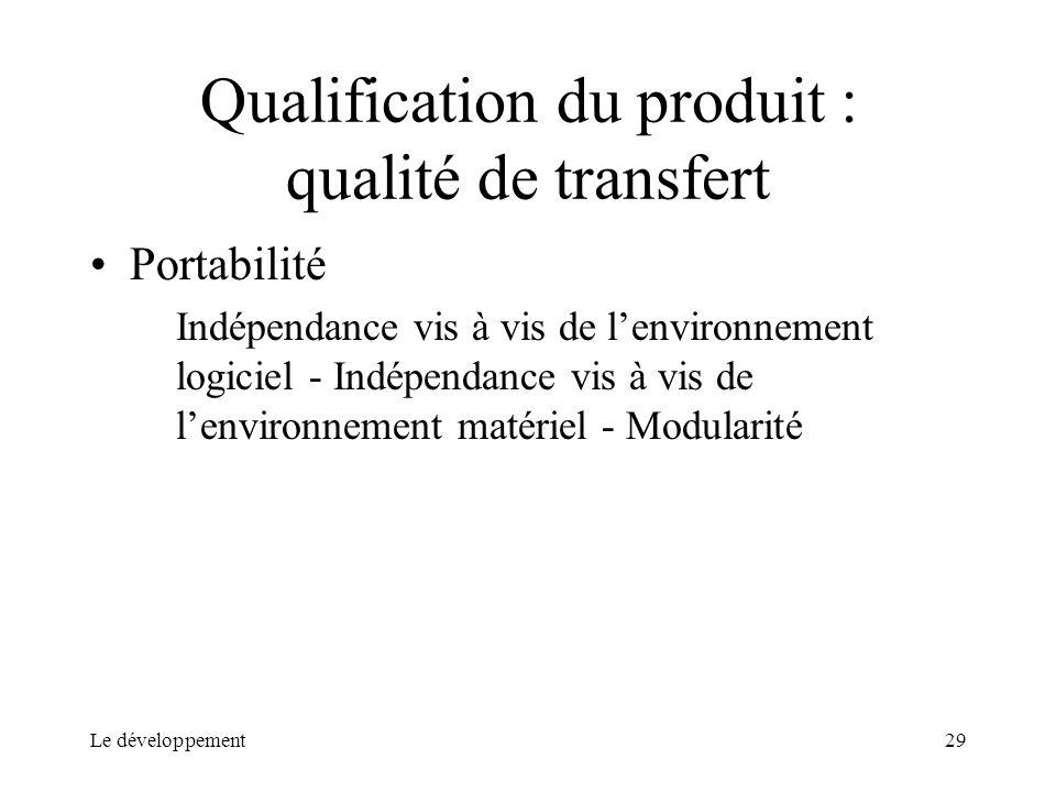 Qualification du produit : qualité de transfert