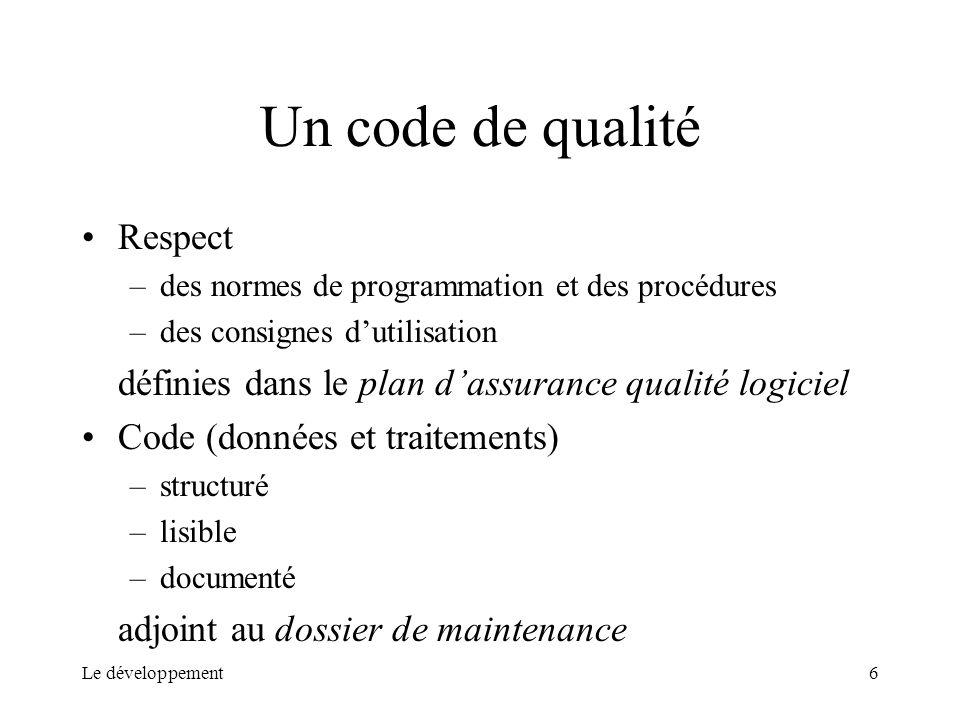 Un code de qualité Respect