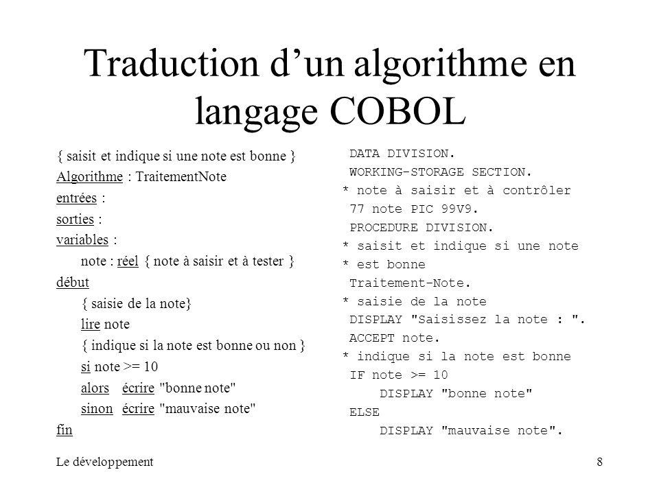 Traduction d'un algorithme en langage COBOL