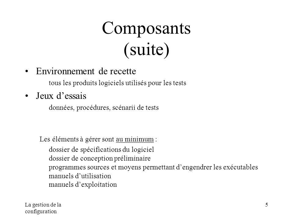 Composants (suite) Environnement de recette Jeux d'essais