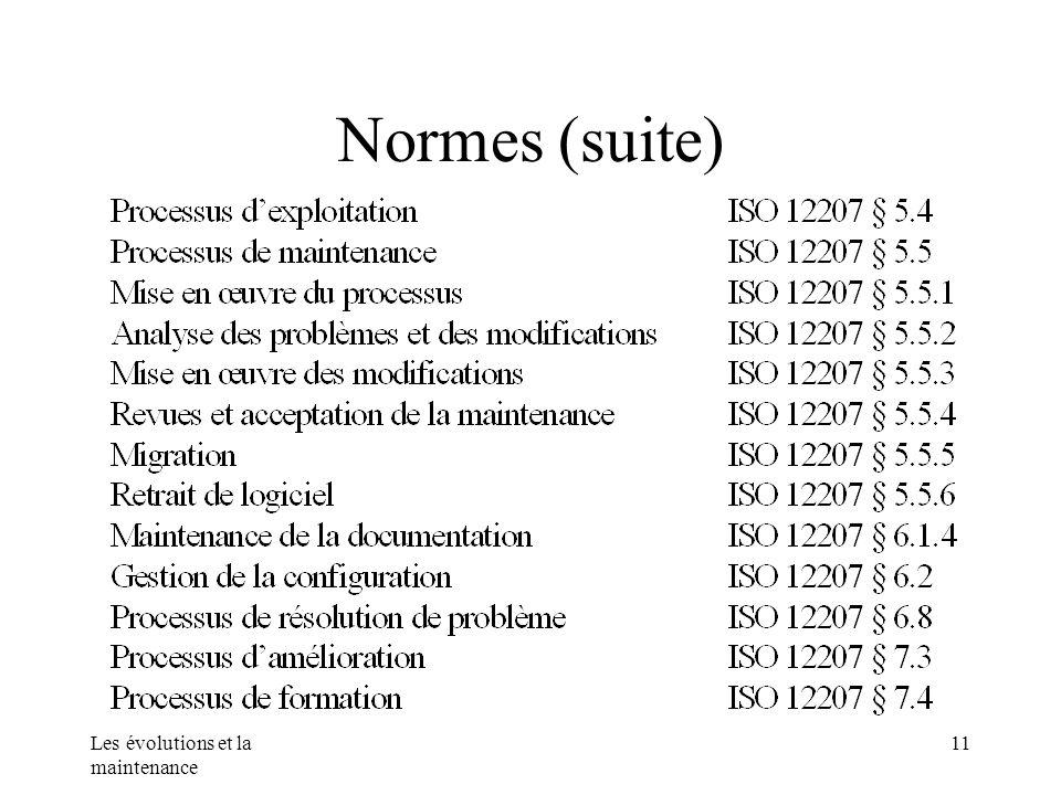 Normes (suite) Les évolutions et la maintenance