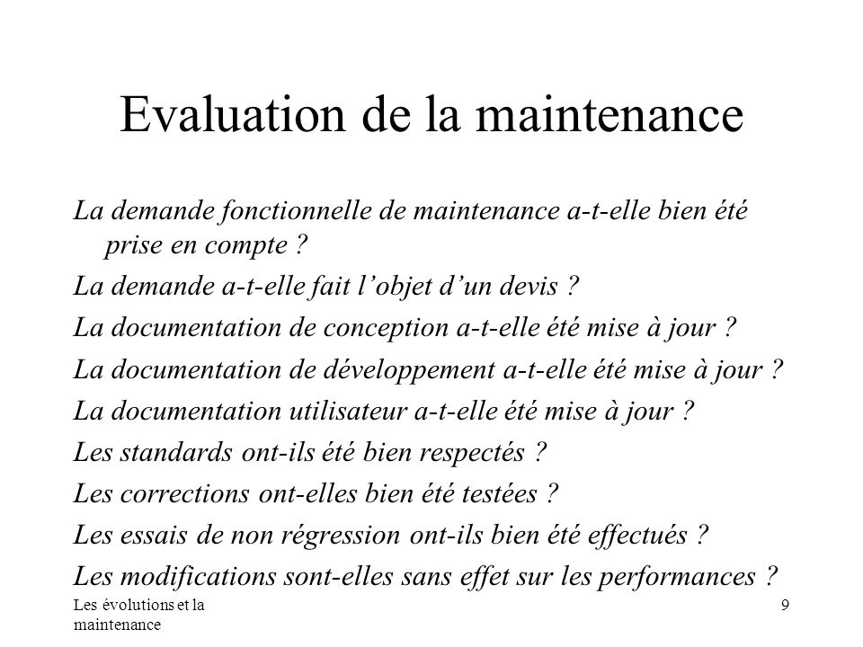 Evaluation de la maintenance