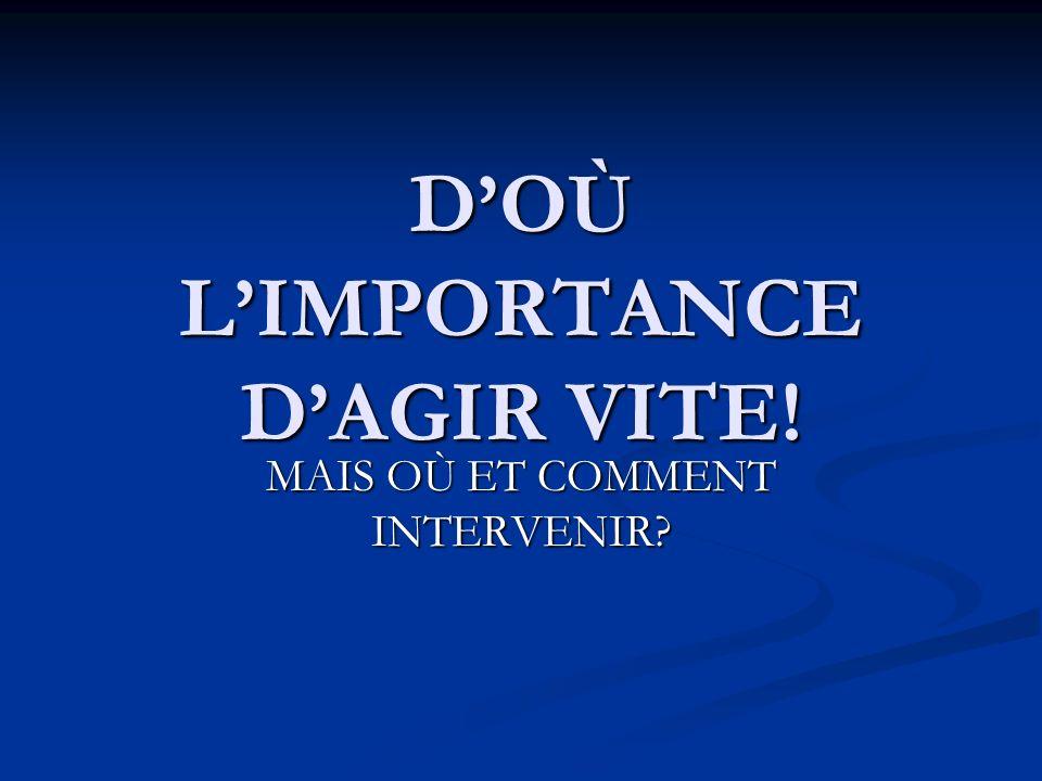 D'OÙ L'IMPORTANCE D'AGIR VITE!