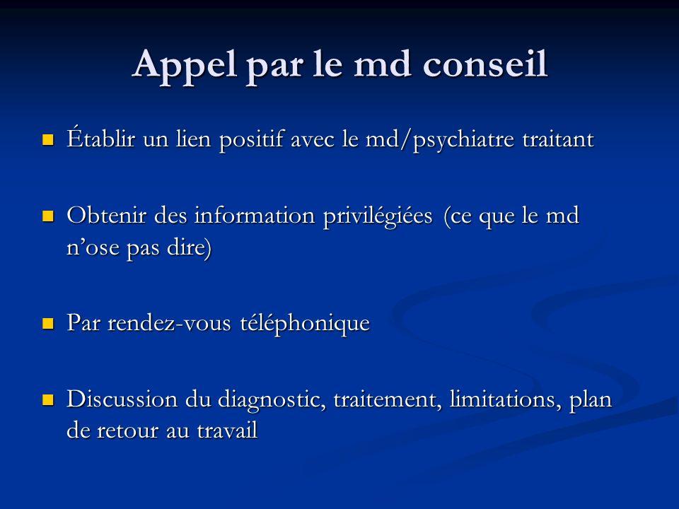 Appel par le md conseil Établir un lien positif avec le md/psychiatre traitant. Obtenir des information privilégiées (ce que le md n'ose pas dire)