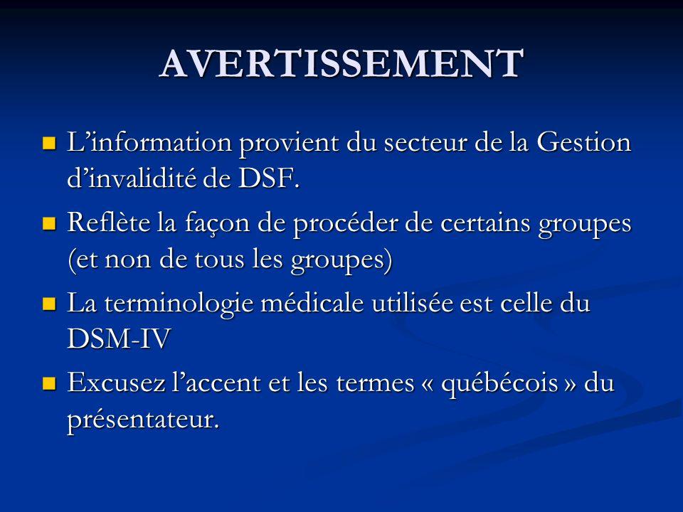AVERTISSEMENT L'information provient du secteur de la Gestion d'invalidité de DSF.
