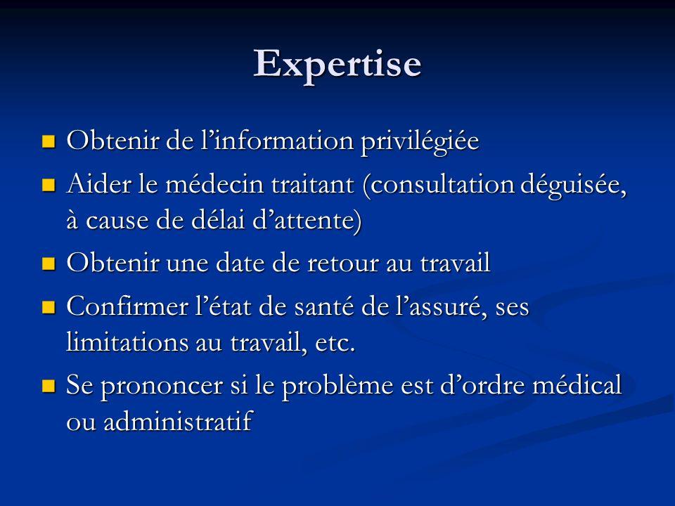 Expertise Obtenir de l'information privilégiée