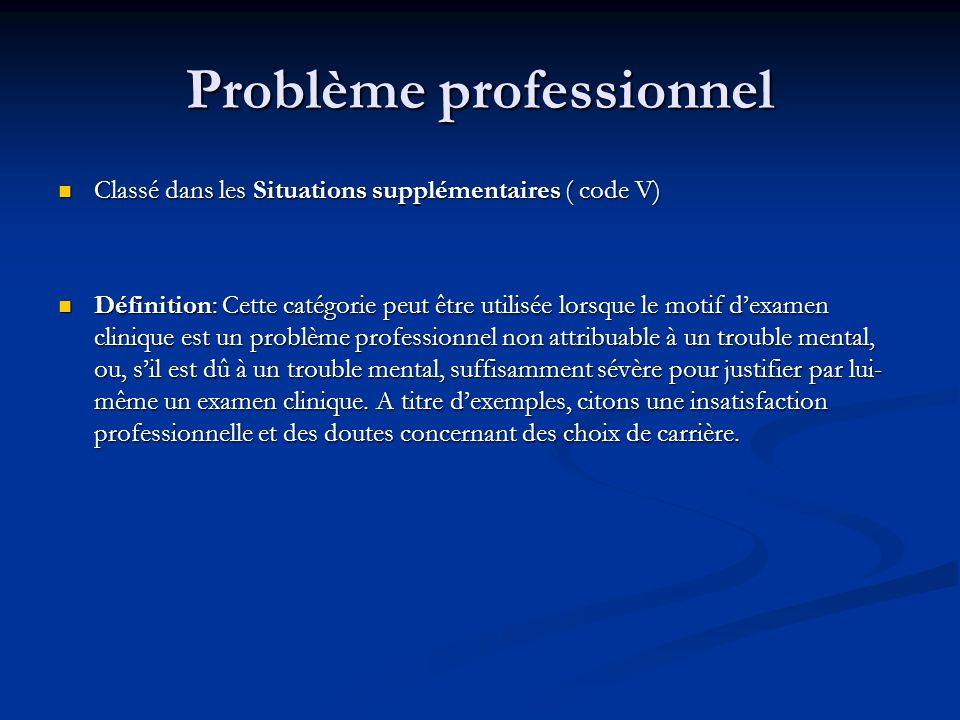 Problème professionnel