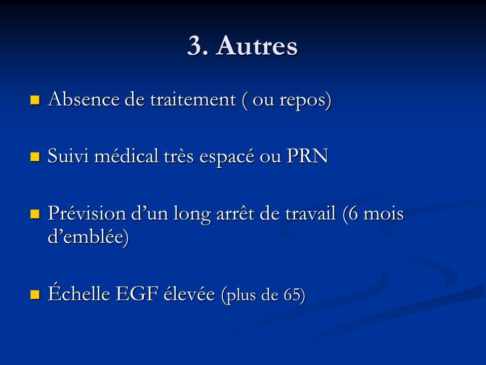 3. Autres Absence de traitement ( ou repos)
