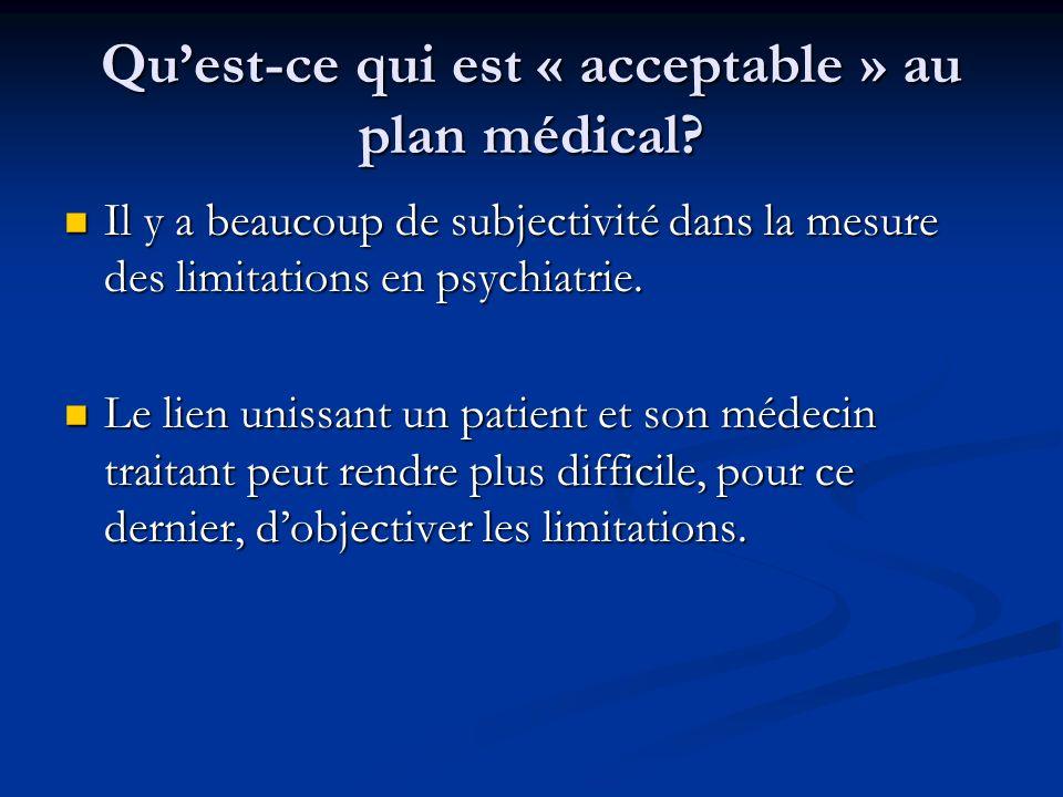 Qu'est-ce qui est « acceptable » au plan médical