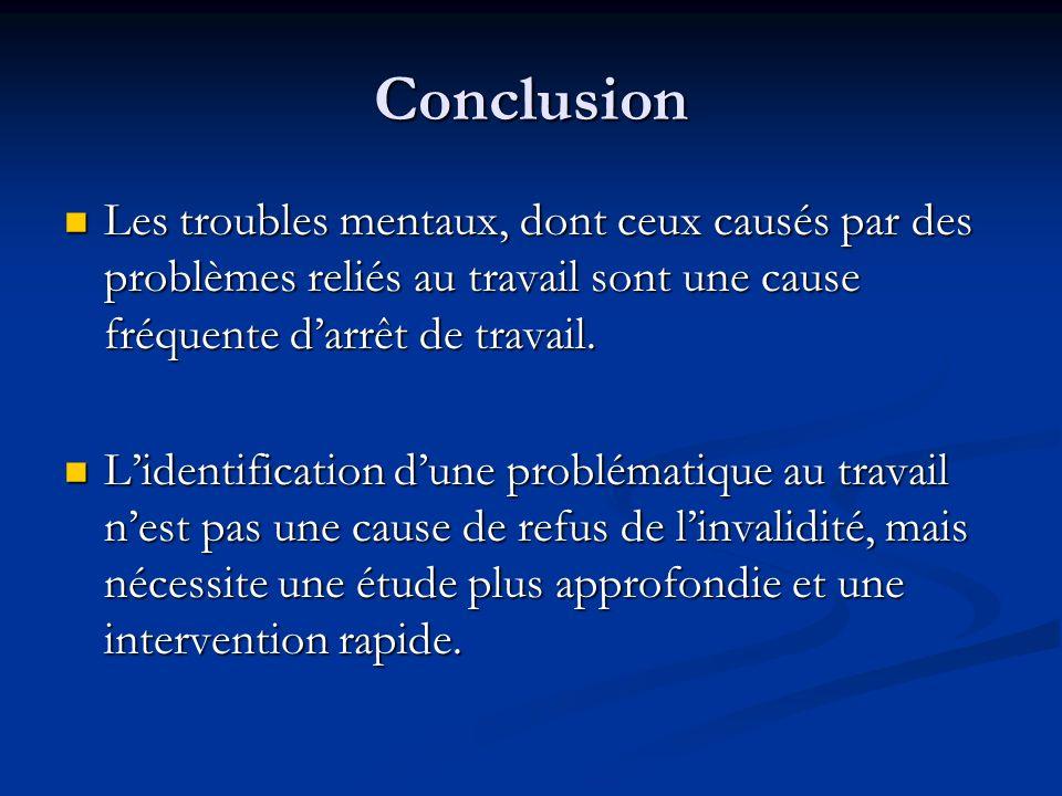 Conclusion Les troubles mentaux, dont ceux causés par des problèmes reliés au travail sont une cause fréquente d'arrêt de travail.