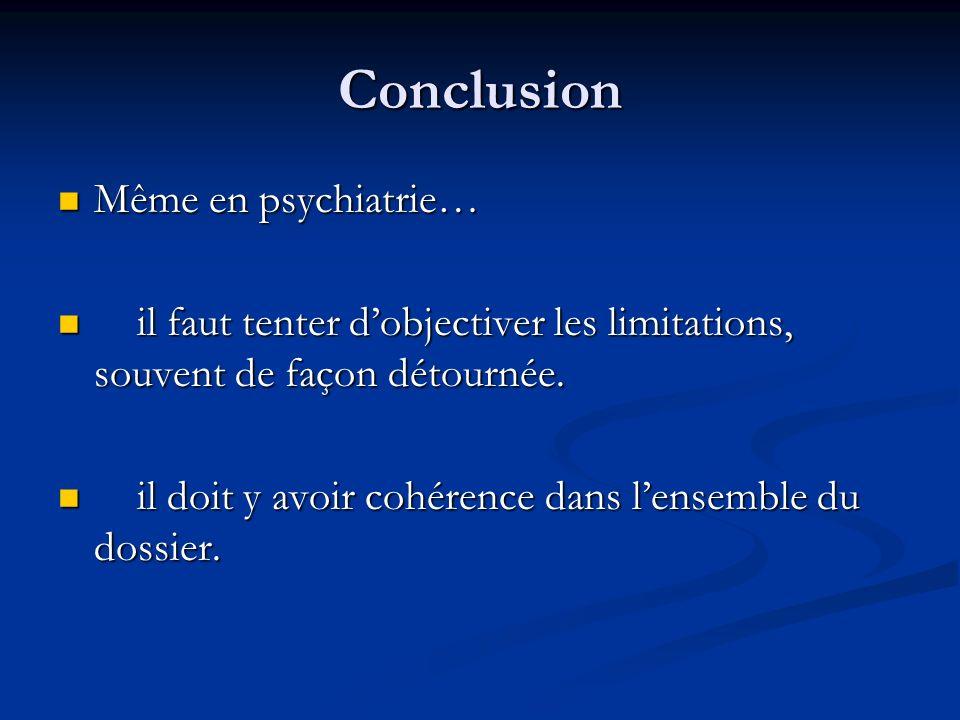 Conclusion Même en psychiatrie…