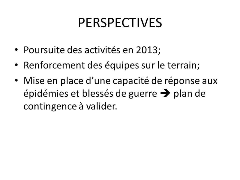 PERSPECTIVES Poursuite des activités en 2013;