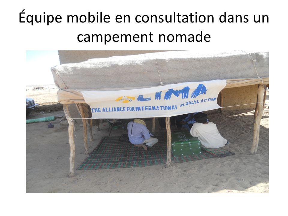 Équipe mobile en consultation dans un campement nomade
