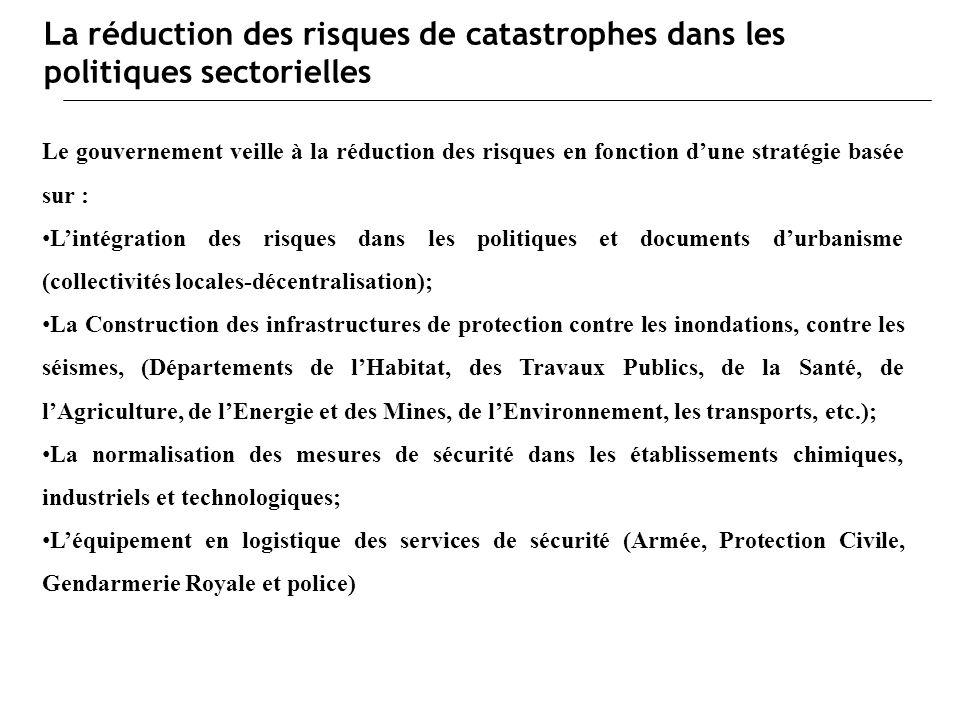 La réduction des risques de catastrophes dans les politiques sectorielles