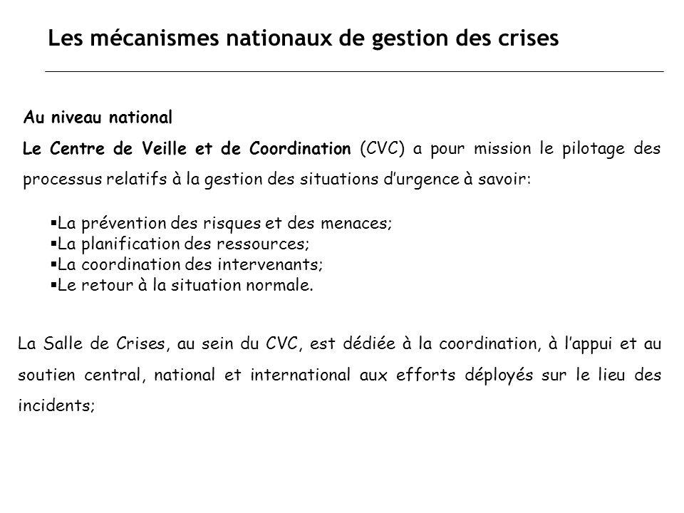 Les mécanismes nationaux de gestion des crises