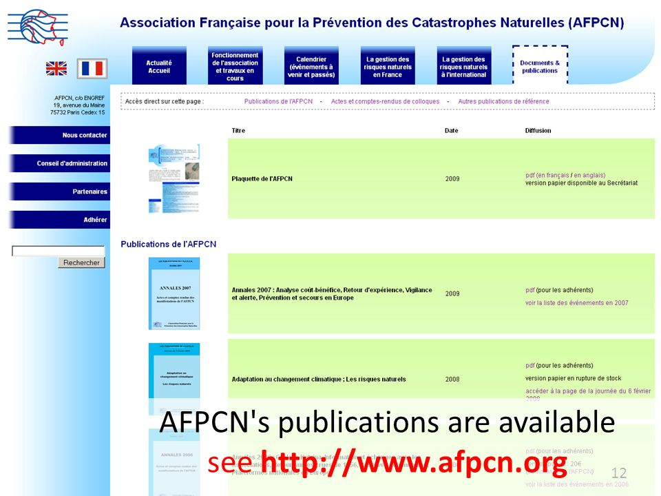 AFPCN s publications are available see http://www.afpcn.org