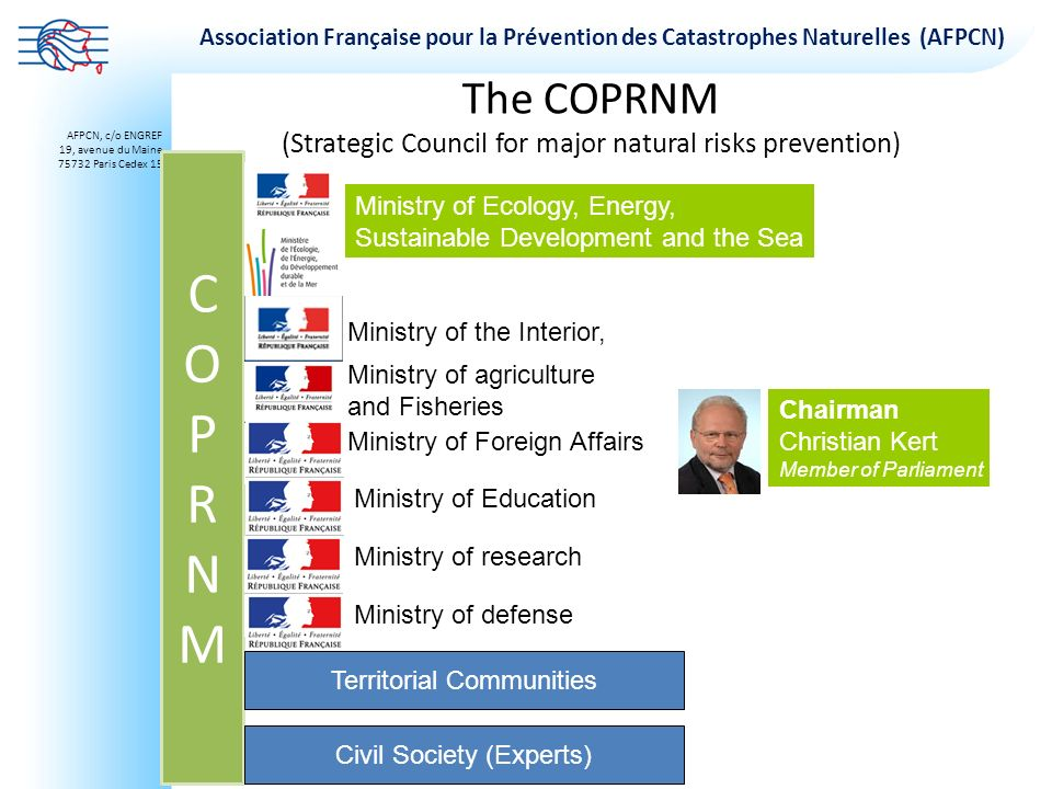 The COPRNM (Strategic Council for major natural risks prevention)
