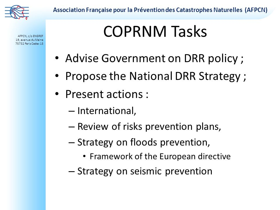 COPRNM Tasks Advise Government on DRR policy ;