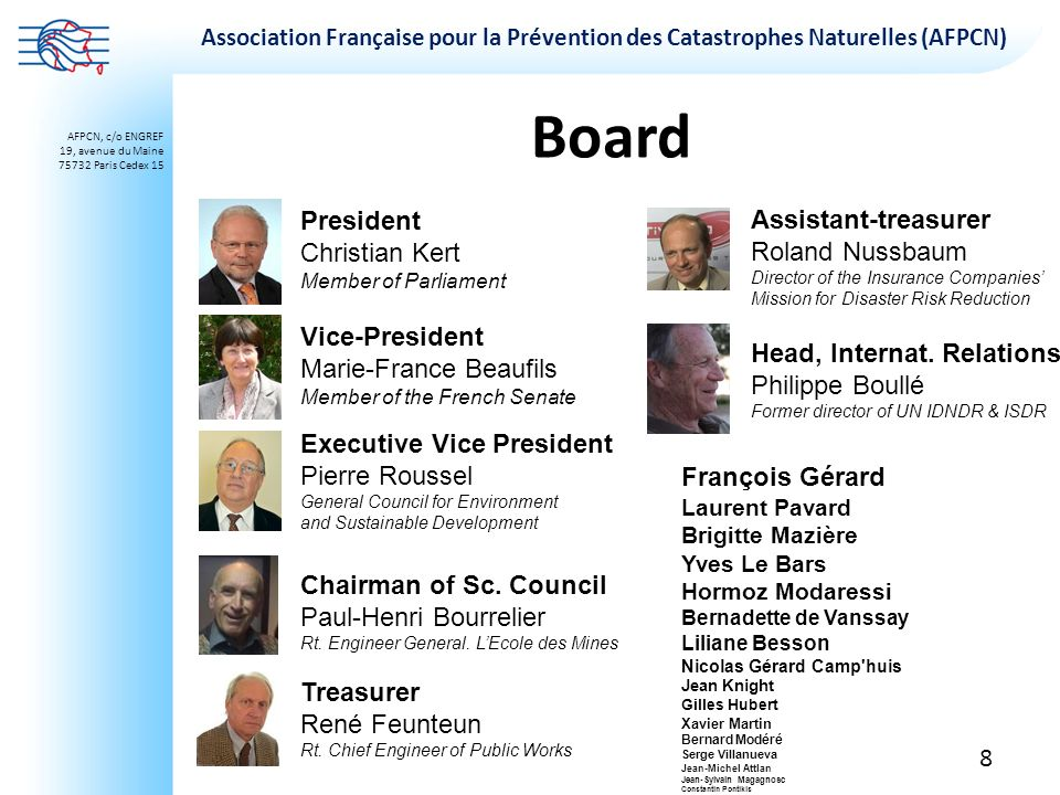 Board President Christian Kert Assistant-treasurer Roland Nussbaum
