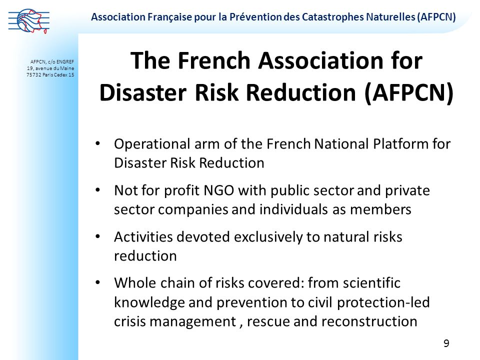The French Association for Disaster Risk Reduction (AFPCN)