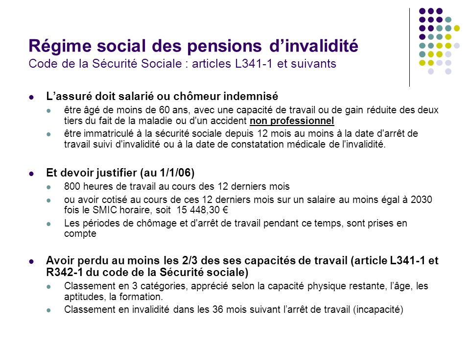 Régime social des pensions d'invalidité Code de la Sécurité Sociale : articles L341-1 et suivants