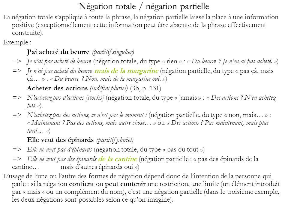 Négation totale / négation partielle