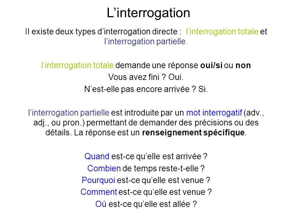 L'interrogation Il existe deux types d'interrogation directe : l'interrogation totale et l'interrogation partielle.