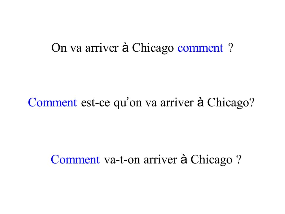 On va arriver à Chicago comment
